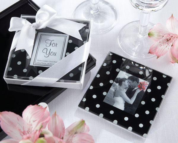 My wedding favors etc black and white wedding theme black white mod dots white and black polka dot wedding coaster guest favor from my wedding favors etc junglespirit Images