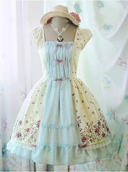 Sweet Flower Printed Rococo Lolita Dress