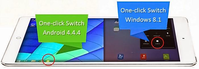 La Onda V919 3G Air, permite cambiar de sistema operativo con darle al acceso directo disponible en cada OS.