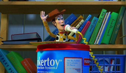 Woody at the podium Toy Story 2 animatedfilmreviews.filminspector.com