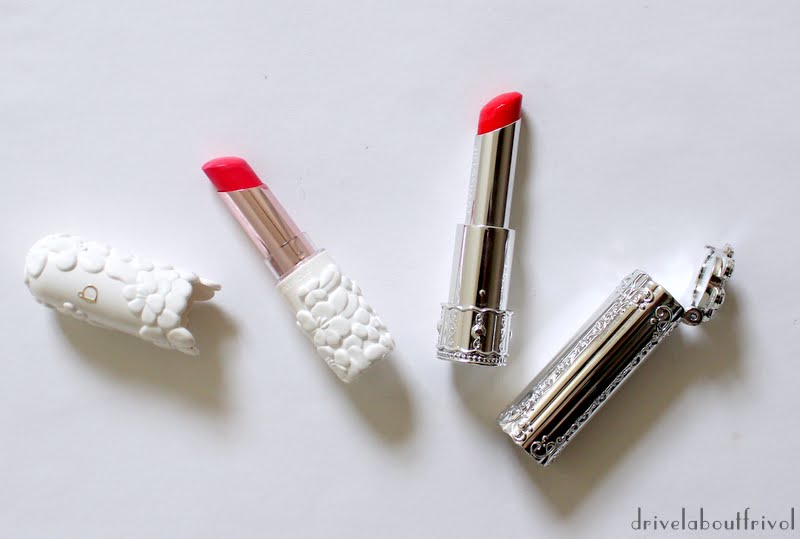 Shiseido Benefique Theoty Melty Touch lipstick PK-06 and Jill Stuart lip blossom 08 Pretty Poppy