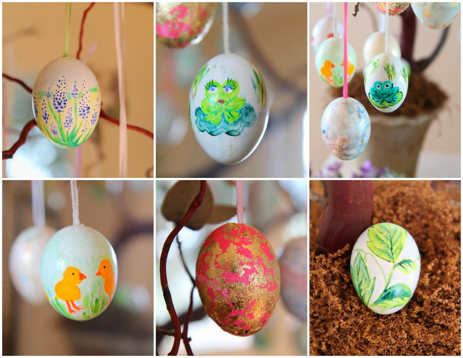 Bluebonnet, frog, goldleaf eggs; Easter Egg Tree; Nora's Nest