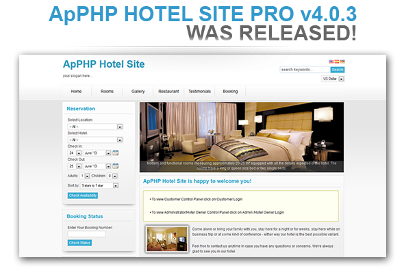 ApPHP HOTEL SITE PRO v4.0.3 - WAS RELEASED