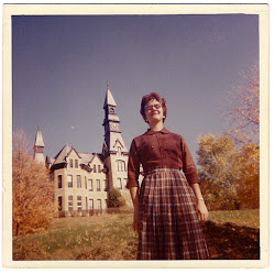 Barbara McDowell in front of Mackay Hall