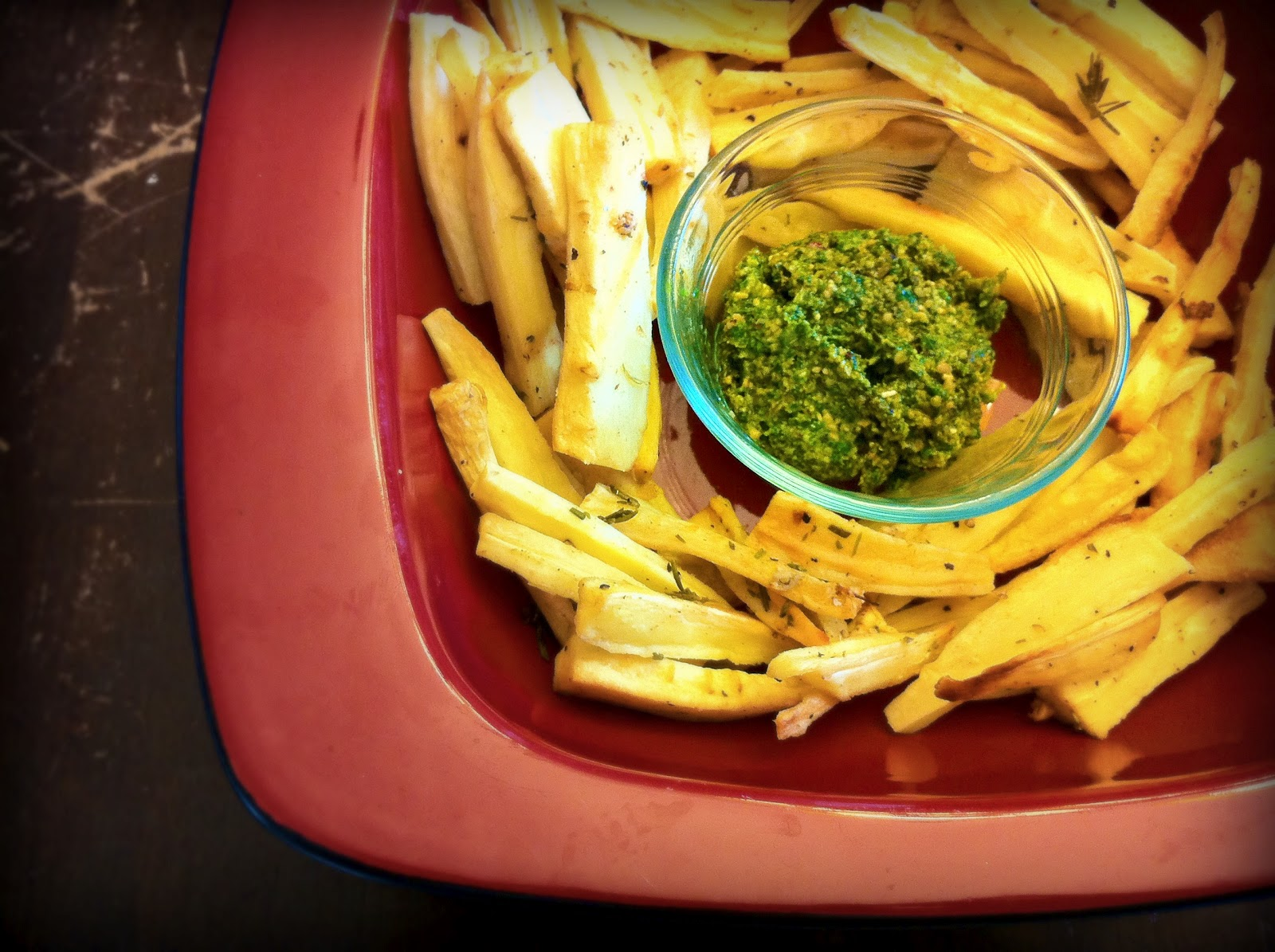 Parsnip Fries with Lambs Quarter Pesto