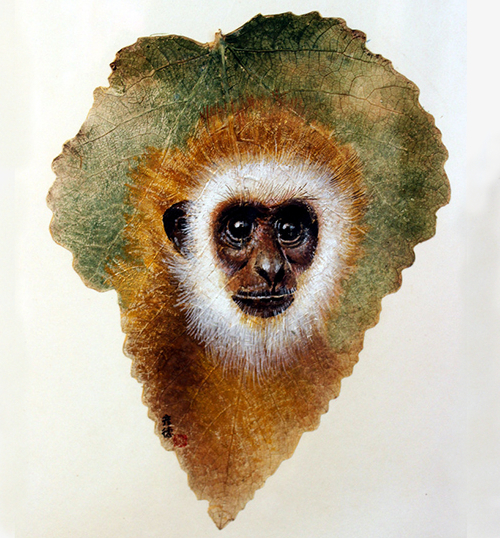 08-Monkey-Pang Yande-Leaf-Painting-Folk-Art-and-Environmental-Protection-www-designstack-co