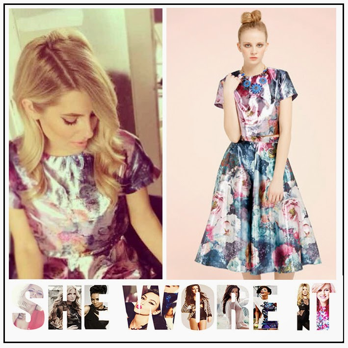 The Saturdays, Mollie King, Miss Selfridge,  Floral Metallic Print, Midi Skirt, Pleating Detail, Matching, Short Sleeved, Crop Top