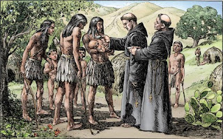 'First baptism in California', obra de A.B.Dodge y Alexander Harmer, tomada de missioncalifornia.com