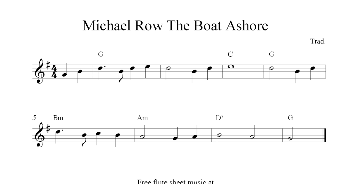 Michael Row The Boat Ashore, free flute sheet music notes