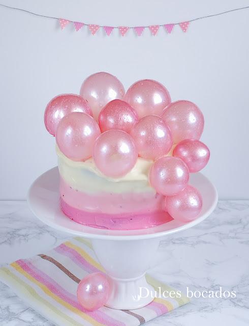 Pastel degradado con burbujas de gelatina - Dulces bocados