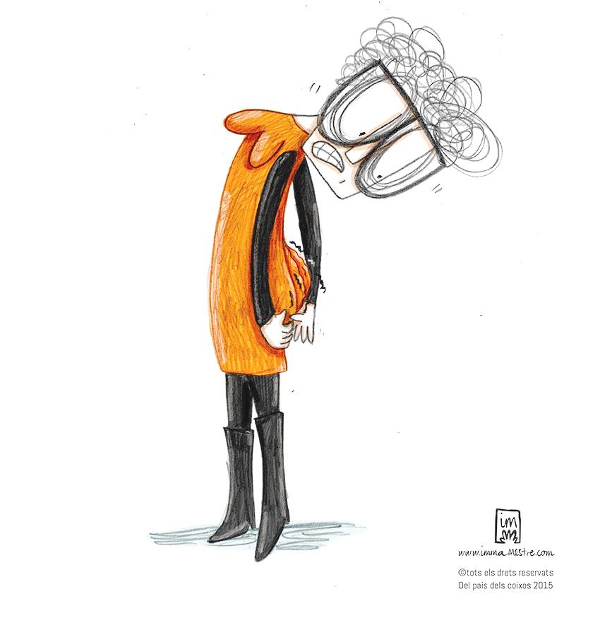 Coses de l'edat. Quant el cul comença a caure...Il·lustració pel webcòmic Del país dels coixos ©Imma Mestre Cunillera.