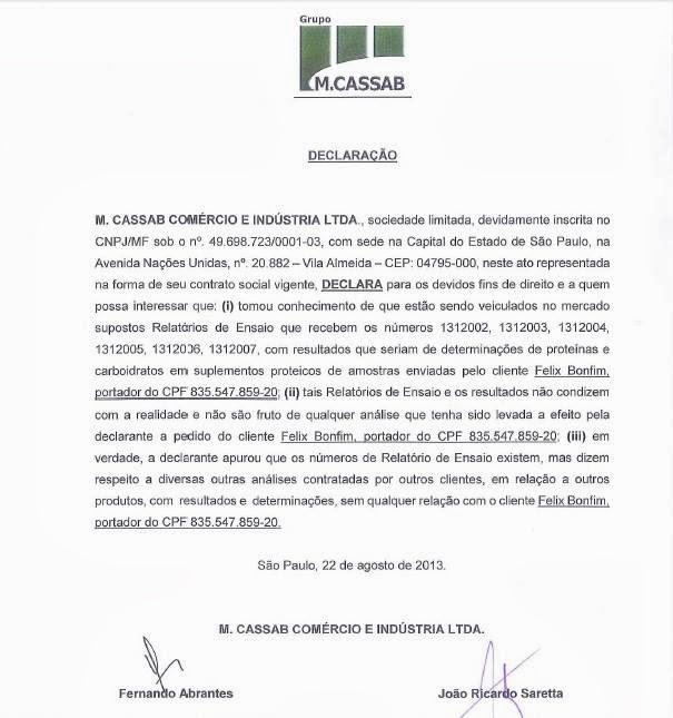 Cópia da declaração oficial do laboratório M.Cassab - Foto: Reprodução