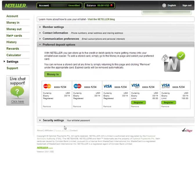 Neteller Account Settings Screen