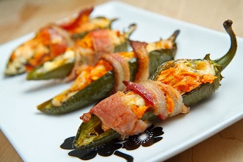 Bacon Wrapped Buffalo Chicken Jalapeno Poppers via Closet Cooking
