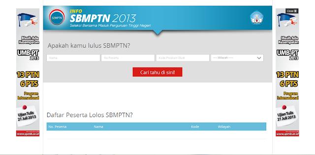 Cara Melihat Daftar Peserta yang Lolos SBMPTN 2013