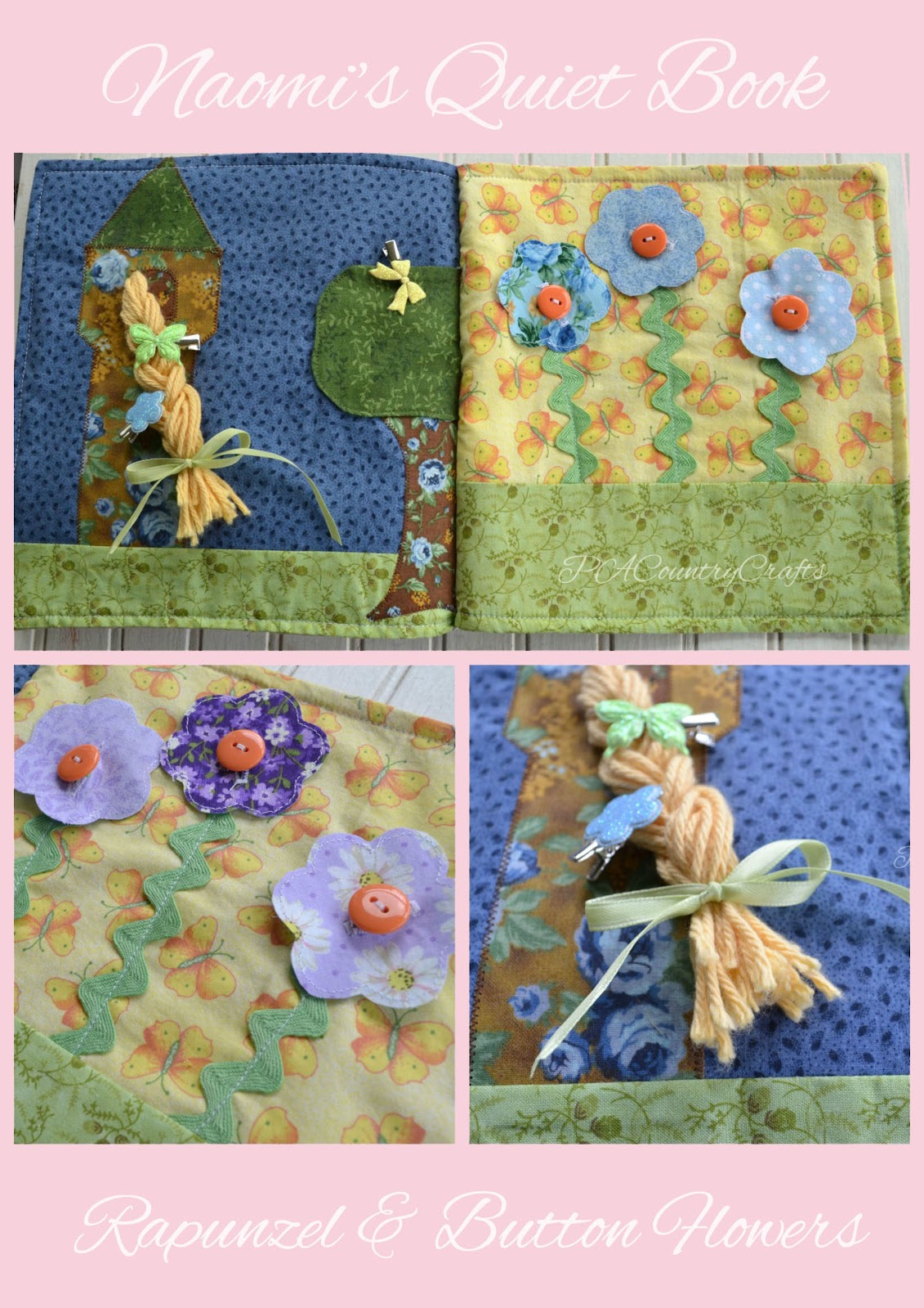 Rapunzel and Button Flowers Quiet Book Page