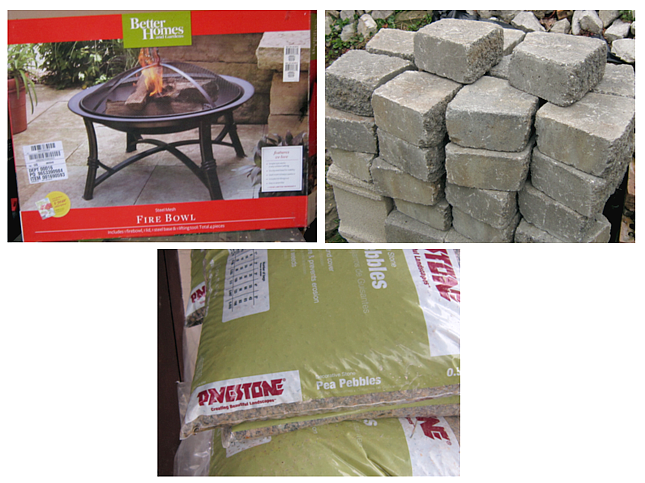 Supplies for our backyard fire pit. Fire bowl, landscaping stones and pebbles.
