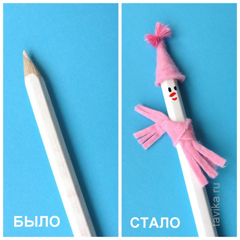 снеговик из карандаша - детская поделка