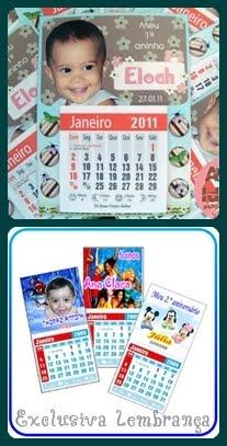 Mini calendário com imã