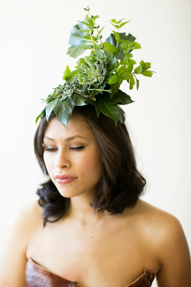 Sweet Pea Floral Design Ann Arbor Wedding Florist green woodland headpiece botanical hat with succulents herbs and tropicals from franciose weeks workshop