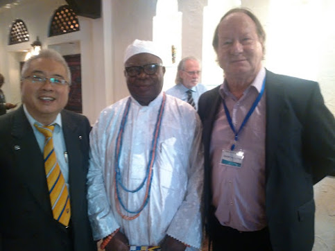 04/08/2015 St Clements University president david cornu, with King of Nigeria council