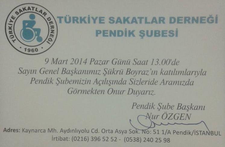 Türkiye Sakatlar Derneği Pendik Şubesi