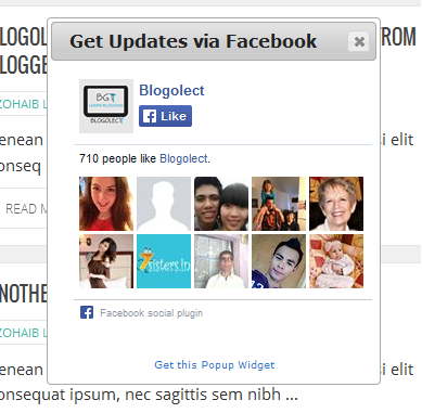 Facebook Popup Like Box Widget for Blogger