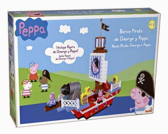 JUGUETES - PEPPA PIG  El Barco Pirata de George y Peppa  Juego de Construcción | Producto Oficial | Simba  A partir de 18 meses