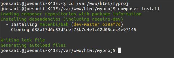 Tampilan proses instalasi paket dengan Composer di terminal