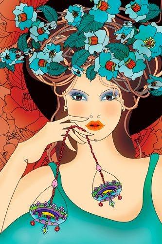 Zodiaco ilustrado Mujer signo Libra