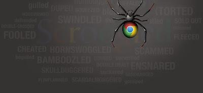 Imagem oficial de divulgação do Scroogled. Imagem de uma aranha com a logo do Chrome