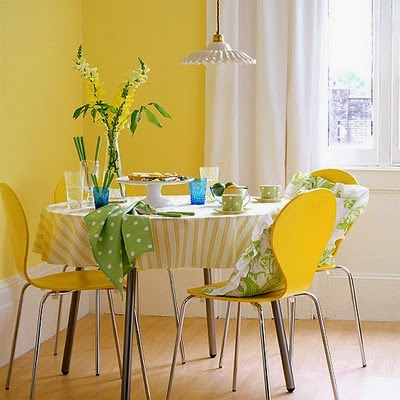 yellow compact dining set suitable for holiday