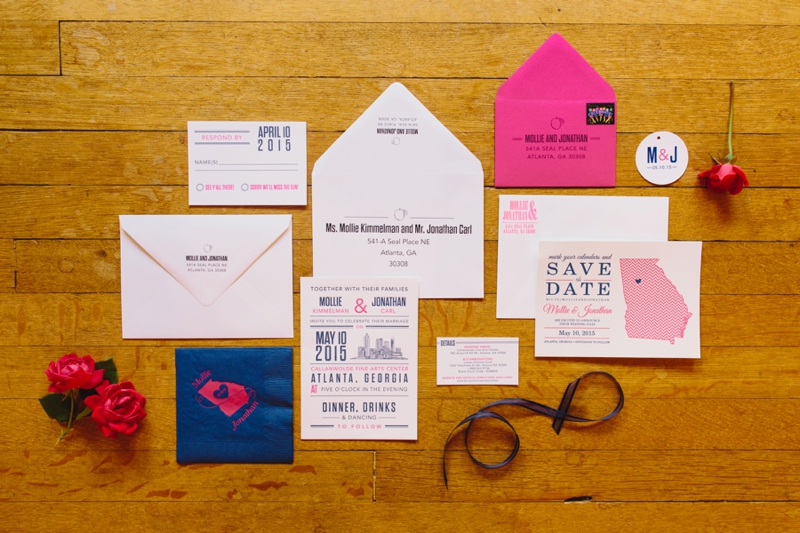 classic and preppy wedding stationery for Mollie and Jonathan's Atlanta wedding