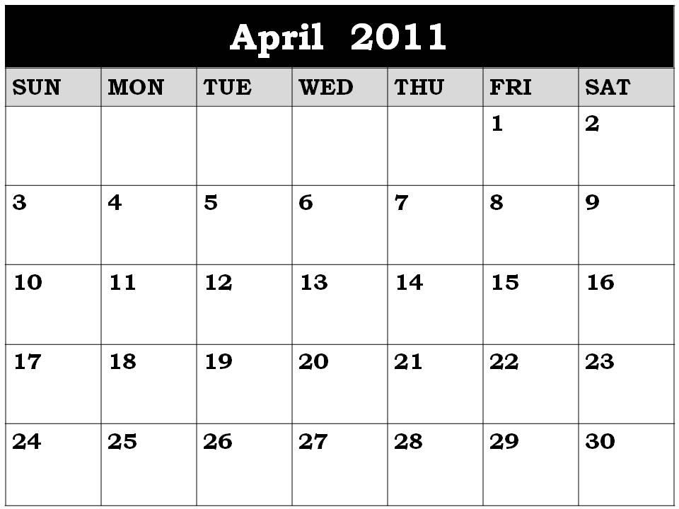 april 2011 blank calendar. Blank Calendar 2011 April