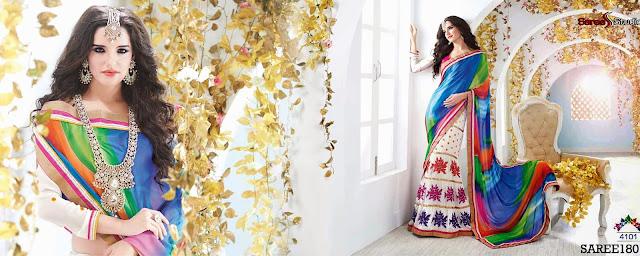 New Georgette Designer Embroidered Saree