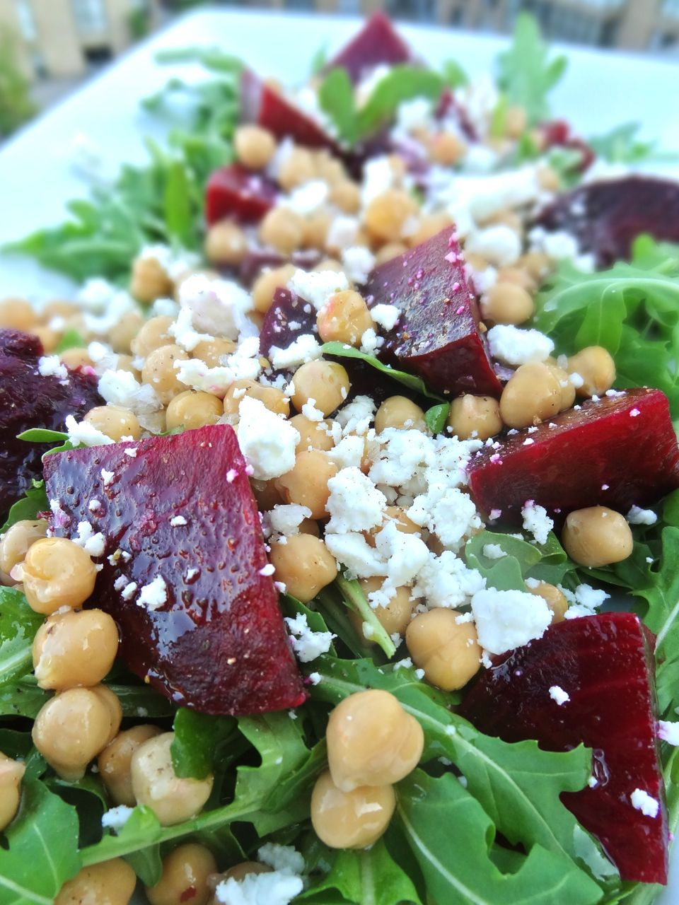 Scrumpdillyicious: Roasted Beet, Chickpea & Arugula Salad with Chèvre