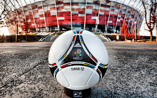 Official Euro 2012 Cup Matchball Tango 12 and Warsaw Stadium HD Wallpaper
