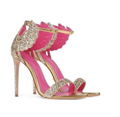 Oscar Tiye glitter winged design stiletto sandals