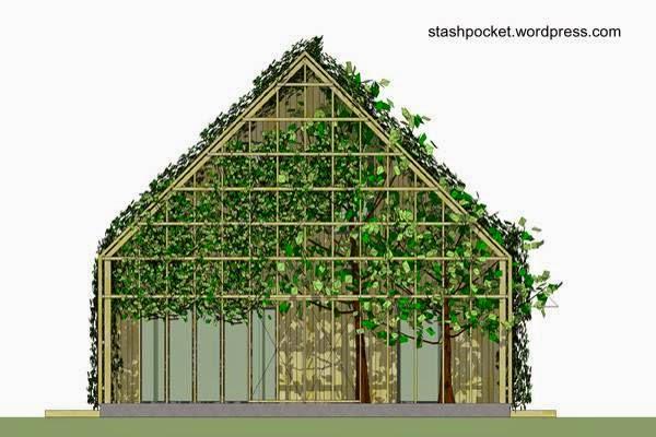 Imagen de una casa ecológica con plantas vivas en su estructura