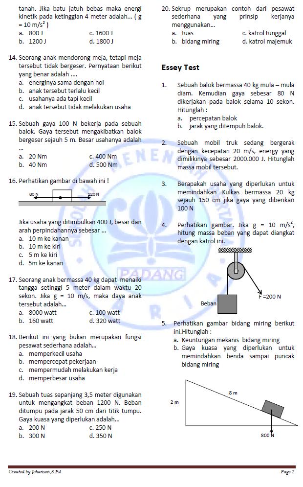 Fisika Smp Maria Latihan Mid Semester Kelas Viii Nop 2013