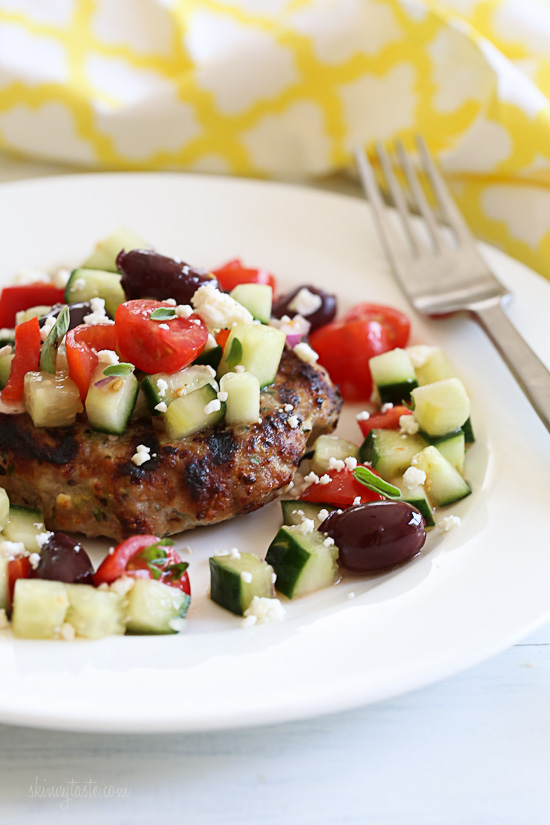 Naked Greek Feta-Zucchini Turkey Burgers | Skinnytaste ...