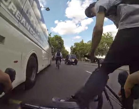 Cyclist kicked, irate cyclist, road rage