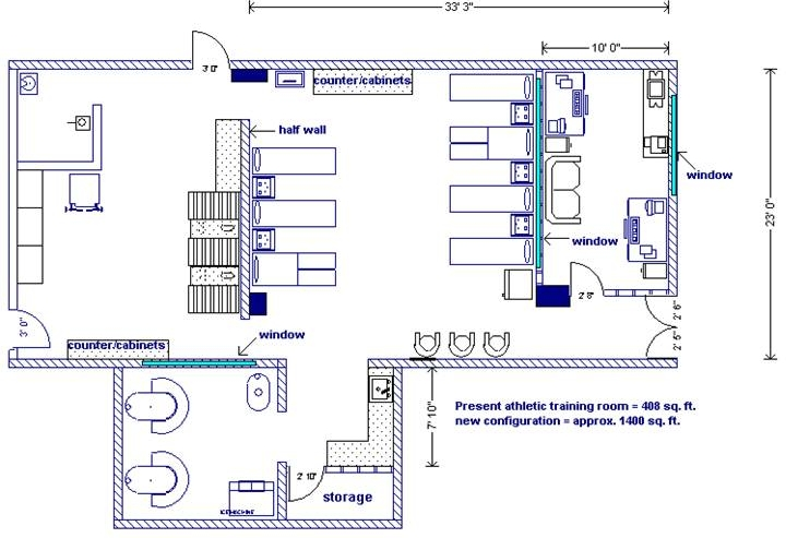 Athletic Training Room Design Layout