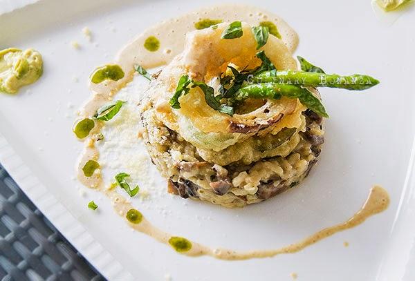 Risotto Arborio mixed with organic mushroom, vegetable tempura, asparagus, pesto custard and mascarpone cream