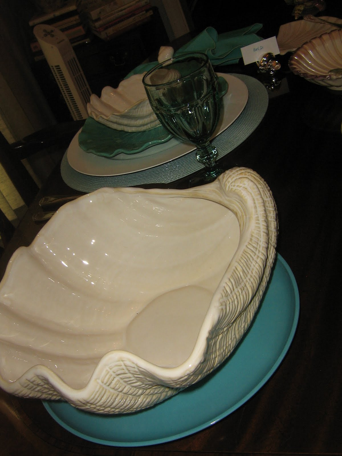 Oak rise cottage shell tablescape in aqua and cream for Canape serving dishes