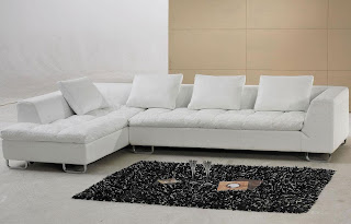 Modern White Leather Sectional Sofa – LSF