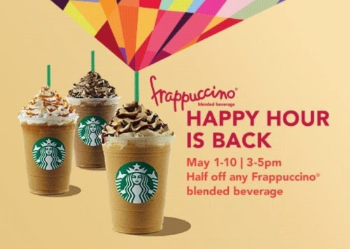 Starbucks Frappuccino Happy Hour Half Off any Frappuccino blended beverage