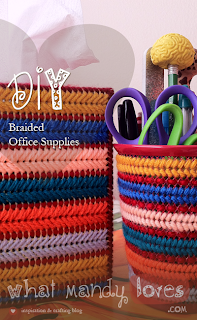 DIY Braided Office Supplies via www.whatmandyloves.com