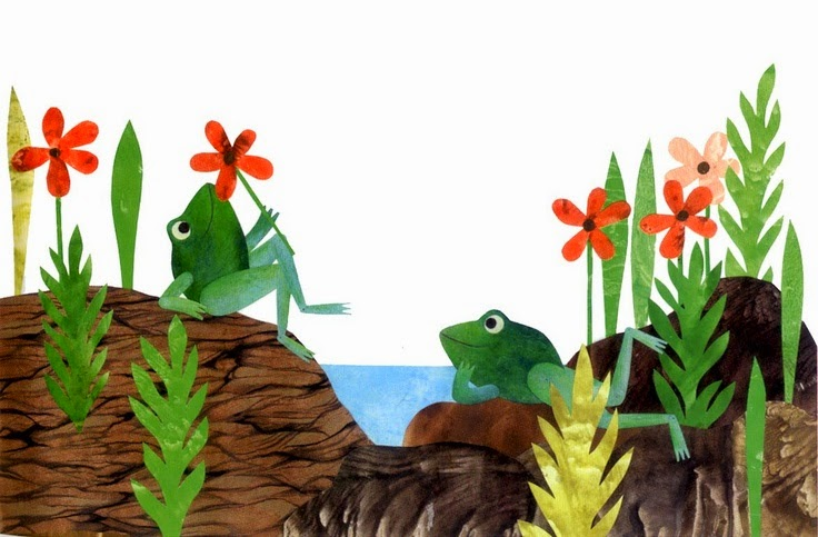 two frogs illustration by Dutch artist Leo Lionni