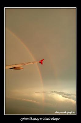 rainbow, pelangi, husein sastranegara, bandung, Senja, rainbow From Airplane, Air Asia, Purwakarta, Gunung Lembu, Jatiluhur